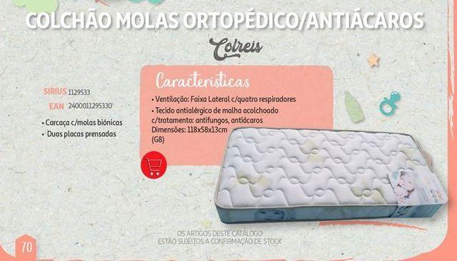 Oferta de Colchão molas ortopedico/ antiacaros Colreis por