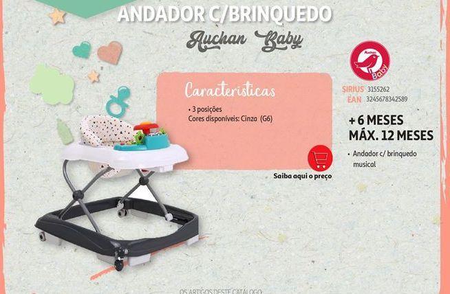 Oferta de Andador c/brinquedo Auchan Baby por