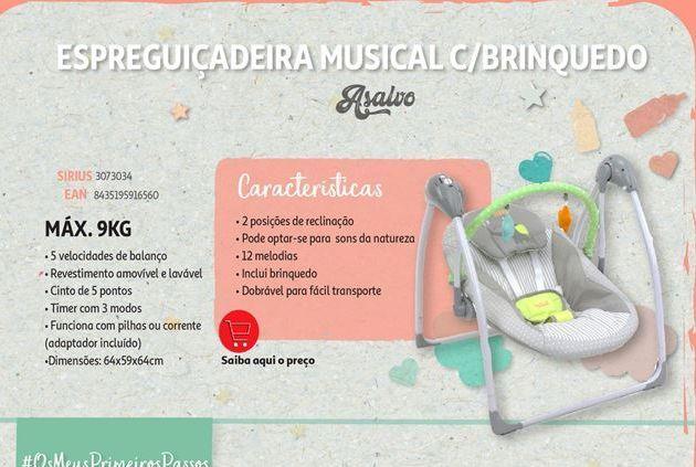 Oferta de Espreguiçadeira musical c/brinquedo Asalvo por