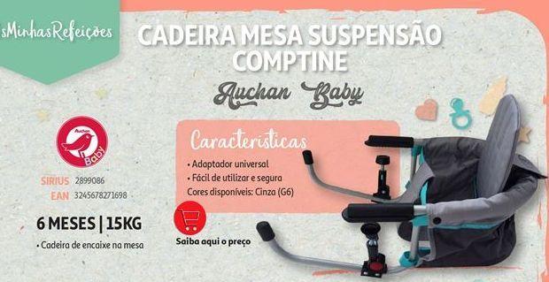 Oferta de Cadeira mesa suspensao comptine Auchan Baby por