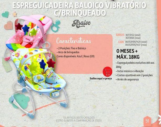 Oferta de Espreguiçadeira baloiço vibratorio c/brinquedo AsaLVO por