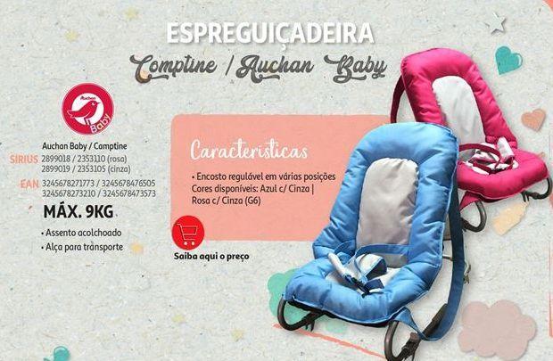 Oferta de Espreguiçadeira comptine /  Auchan Baby por