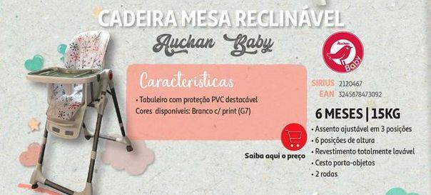 Oferta de Cadeira mesa reclinavel Auchan Baby por