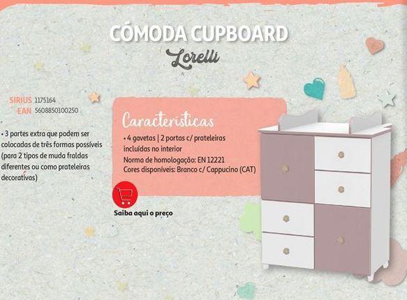 Oferta de Cômoda cupboard Lorelli por