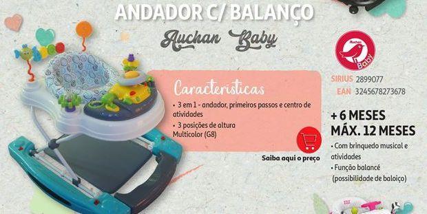 Oferta de Andador c/balanço Auchan Baby por