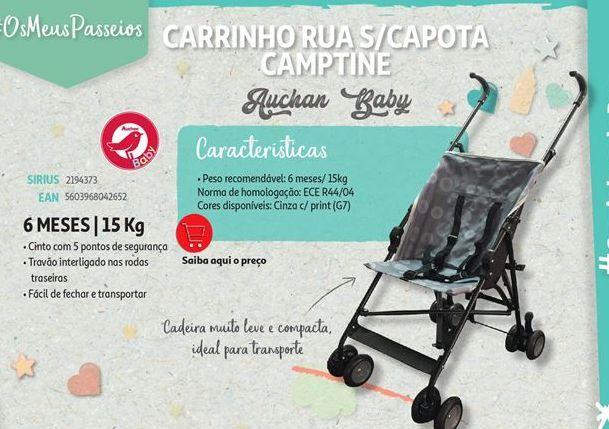 Oferta de Carrinho de rua s/capota camptine Auchan Baby por