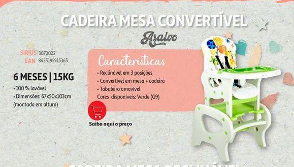 Oferta de Cadeira mesa convertivel Asalvo por