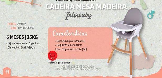 Oferta de Cadeira mesa madeira Interbaby por