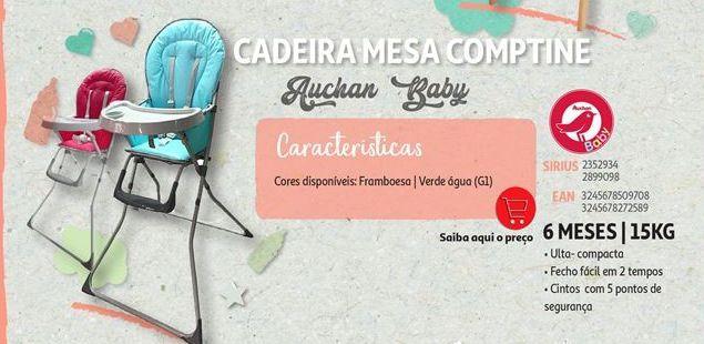 Oferta de Cadeira mesa comptine Auchan Baby por