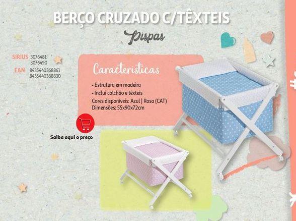 Oferta de Berço cruzado c/texteis Pispas por