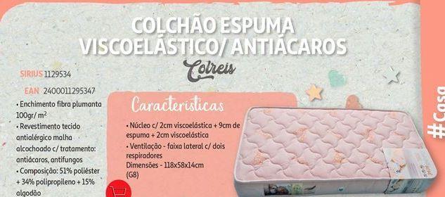 Oferta de Colchão espuma viscoelastico/ antiacaros Colreis por