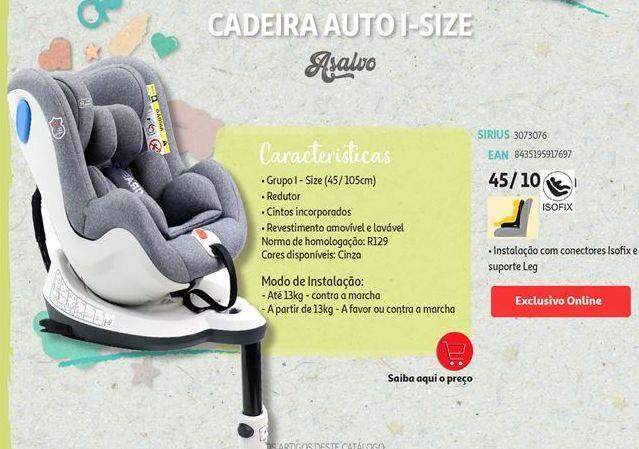 Oferta de Cadeira auto para bebé Asalvo por