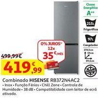 Oferta de Frigorífico combinada Hisense por 419,99€