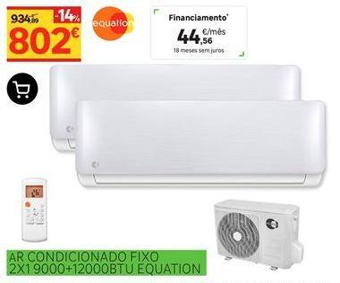 Oferta de Ar condicionado fixo 2x1 9000+12000BTU Equation por 802€