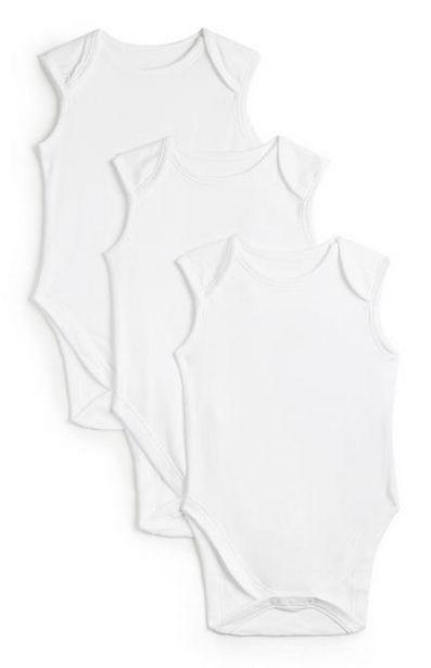 Oferta de Pack 3 body básico sem mangas branco básico recém-nascido por 4€
