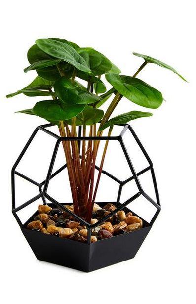 Oferta de Planta artificial vaso vidro hexagonal preto por 7€