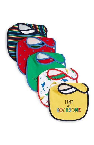 Oferta de Pack 5 babetes estampados dinossauros coloridos por 4,5€