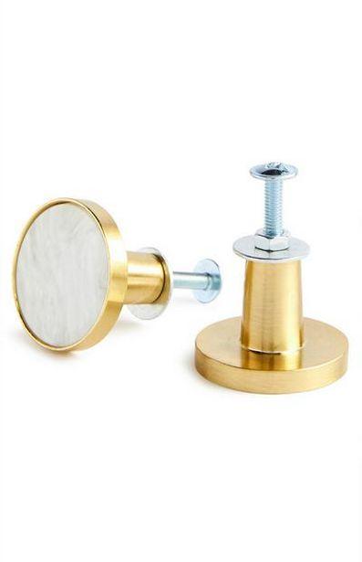 Oferta de Pack 2 maçanetas porta dourado/mármore branco por 400€