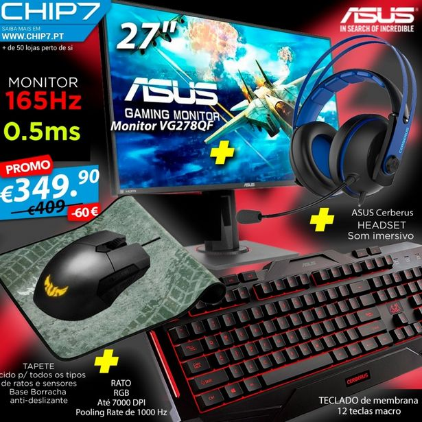 "Oferta de ASUS GAMING BUNDLE HARDCORE - MONITOR 27"" FULL HD 165HZ + CERBERUS MOUSEPAD + RATO + TECLADO + HEADSET V2 por 349,9€"