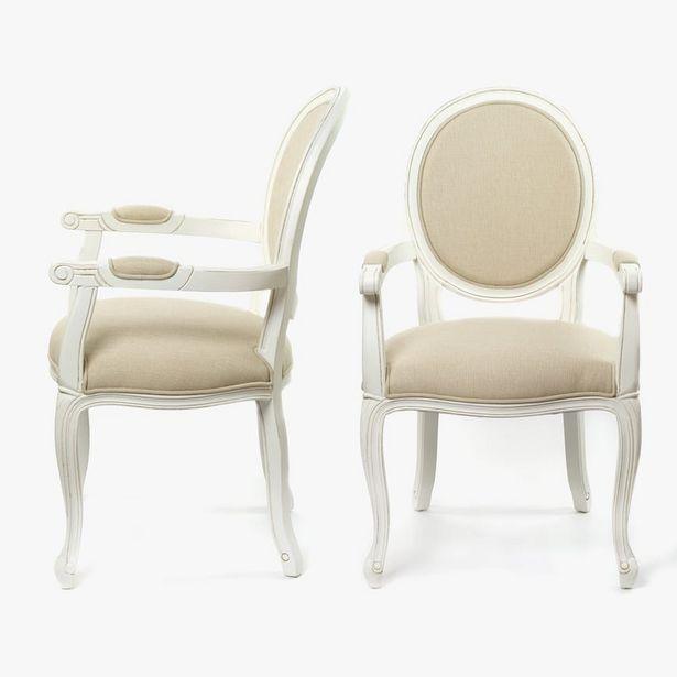 Oferta de Cadeira de Braços Viena Branco 52x60x100 cm (conjunto2) por 156,6€