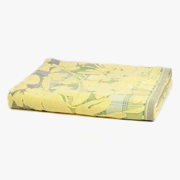 Oferta de Toalha de Banho Flores/Xadrez Amarelo 90x150 cm por 18,36€