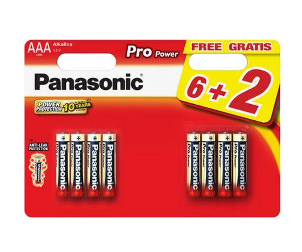 Oferta de Pilhas Alcalinas Panasonic Pack 8 AAA Pro Power 1.5V por 5,99€