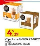 Oferta de Cápsulas de café Dolce Gusto por 4,29€