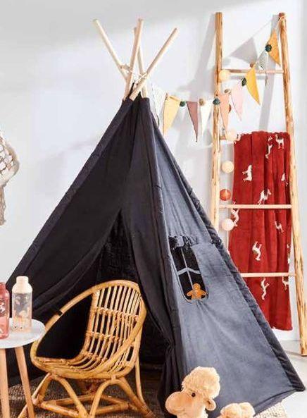 Oferta de WINNY Tenda de brincar preto H 150 x W 120 x D 120 cm por 39,95€