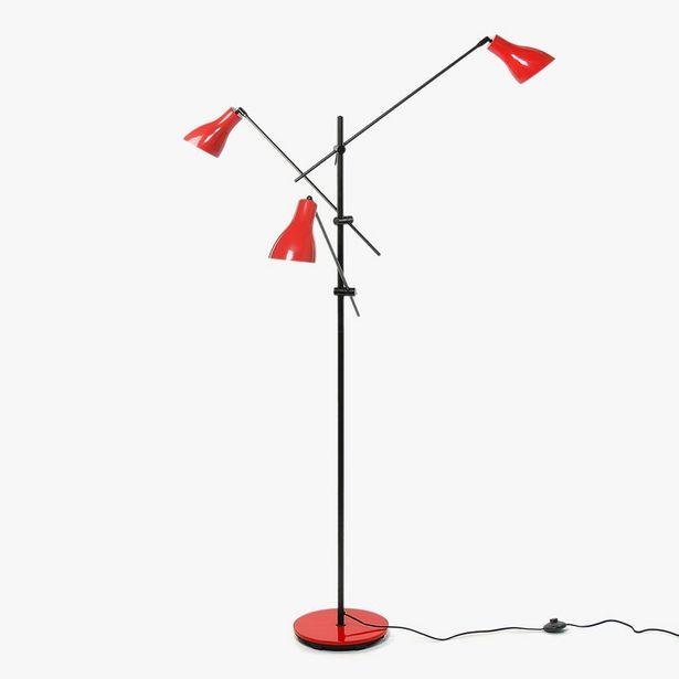 Oferta de Candeeiro de Pé Wadin 3 Luzes Vermelho por 129,99€