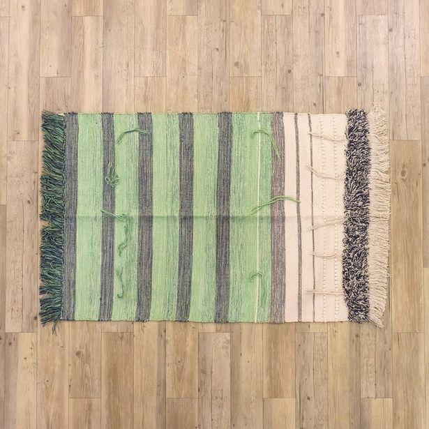 Oferta de Tapete Franjas Verde 100x150 cm por 29,99€