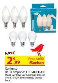 Oferta de Conjunto de 3 lâmpada led Auchan por 2,99€