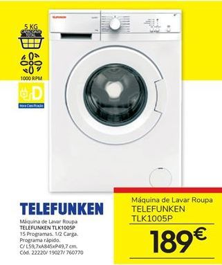 Oferta de Máquina lavar roupa por 189€