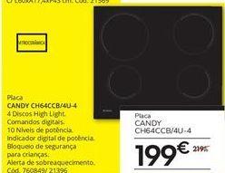 Oferta de Placa de cozinha Candy por 199€