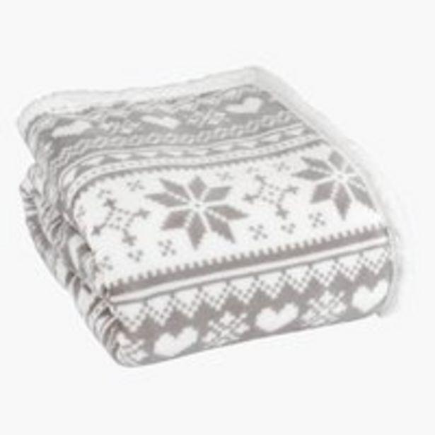 Oferta de Manta NORWAY flanela 130x160 cinz/branco por 19,99€