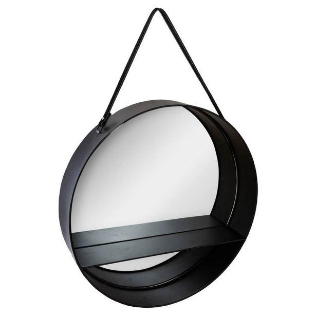 Oferta de Espelho De Parede Preto Em Metal com Prateleira por 29,99€