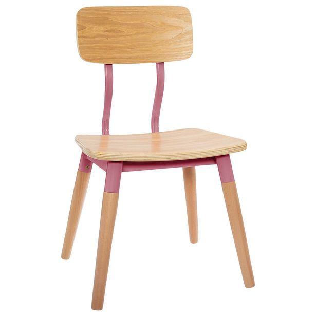 Oferta de Cadeira Infantil Retro Rosa por 23,99€
