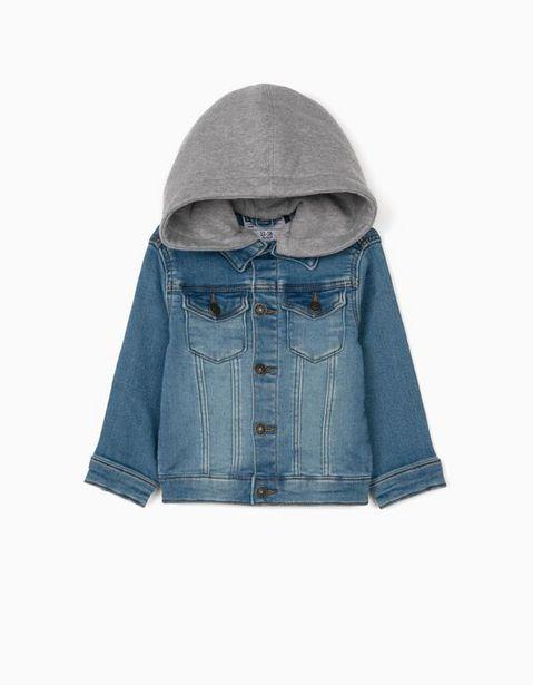 Oferta de Casaco de Ganga com Capuz para Bebé Menino, Azul/Cinza por 12,99€