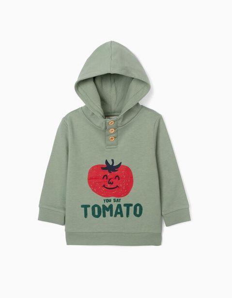 Oferta de Sweatshirt com Capuz para Bebé Menino 'Tomato', Verde por 9,99€
