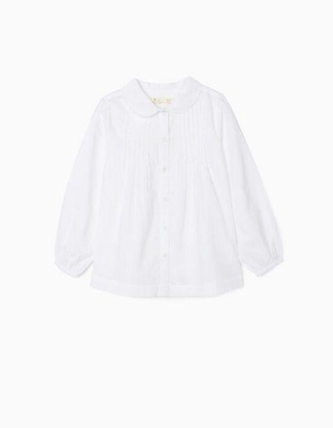 Oferta de Camisa com Preguinhas para Menina, Branco por 9,99€