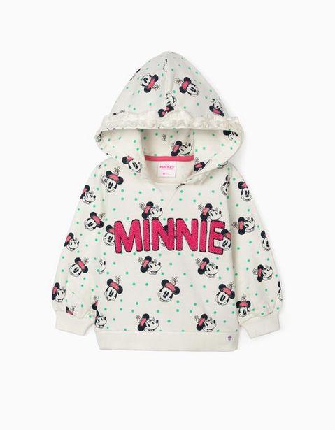 Oferta de Sweatshirt com Capuz para Bebé Menina 'Minnie', Branco por 8,99€