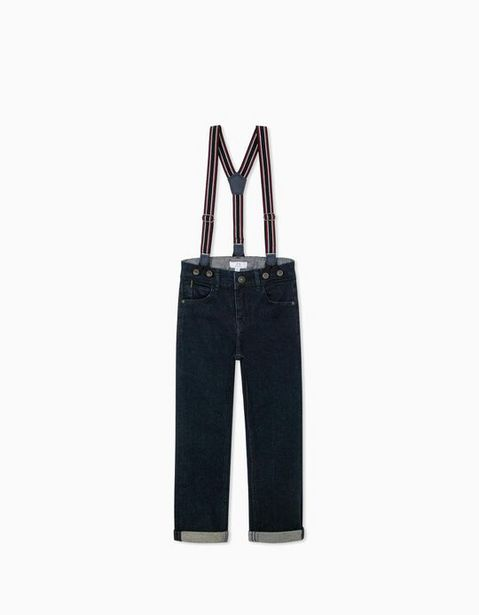 Oferta de Calças de Ganga com Suspensórios para Menino, Azul Escuro por 22,99€