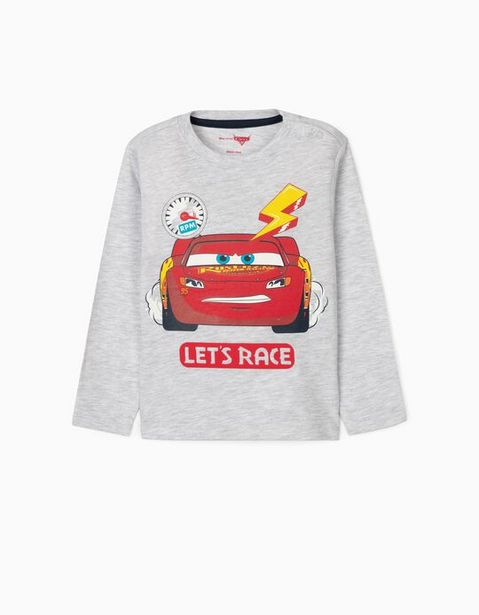 Oferta de T-Shirt de Manga Comprida para Bebé Menino 'Cars', Cinza por 4,99€