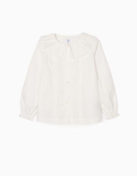 Oferta de Camisa com Pregas para Menina, Branco por 17,99€