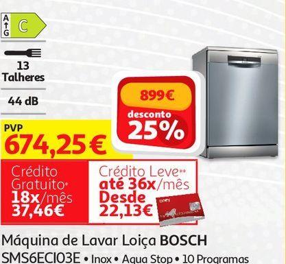 Oferta de MAQUINA LAVAR LOIÇA BOSCH:INOX  SMS6ECI03E  por 674,25€