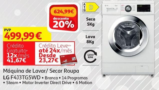 Oferta de MAQUINA LAVAR/SECAR ROUPA LG:BRANCO  F4J3TG5WD por 499,99€