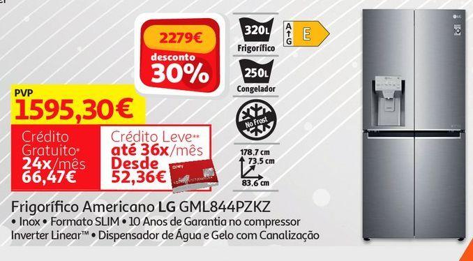 Oferta de FRIGORIFICO AMERICANO LG:INOX GML844PZKZ por 1595,3€