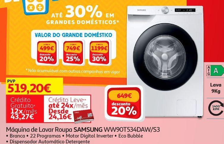Oferta de MAQUINA LAVAR ROUPA SAMSUNG:BRANCO WW90T534DAW/S3 por 519,2€