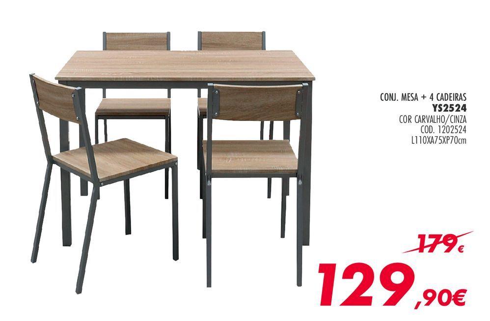 Oferta de Conjunto de mesa e cadeiras por 129,9€