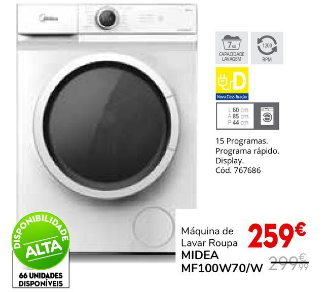 Oferta de Máquina lavar roupa por 259€