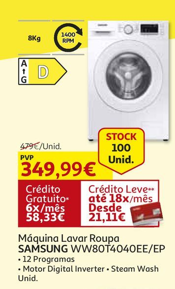 Oferta de MAQUINA LAVAR ROUPA SAMSUNG:BRANCO WW80T4040EE/EP por 349,99€